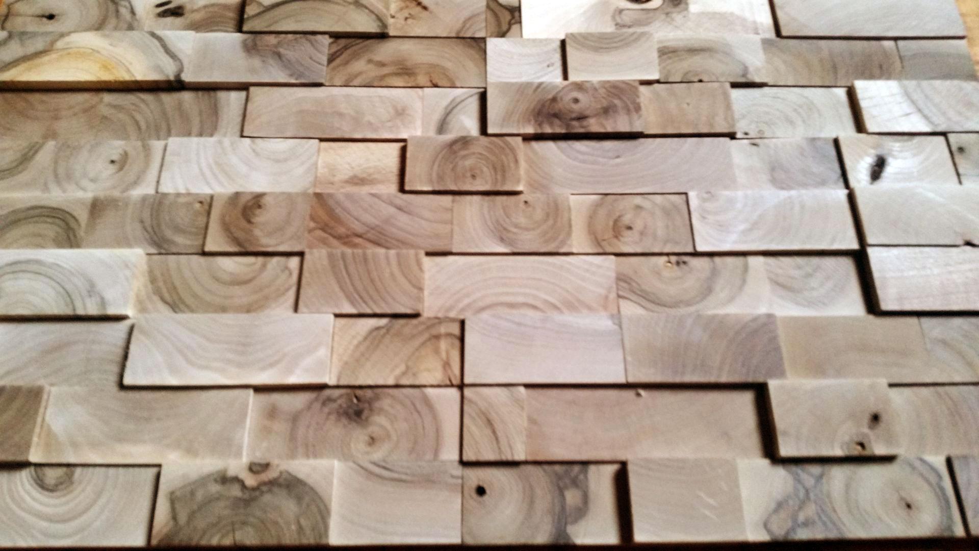 Wanddekorationen aus Holz blocks, Architektur und Interieur